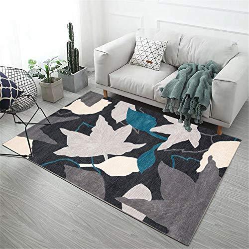 Kunsen alfombras a Medida Online Alfombra pie de Cama El patrón Floral de la Alfombra Gris del Dormitorio es resbaladizo y Suave. Alfombra Infantil niña 140X200CM 4ft 7.1' X6ft 6.7'