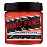 Manic Panic Electric Tiger Lily Hair Dye – Classic High Voltage - Semi-Permanent Hair Color - Glows in Blacklight - Bright, Orange Shade, Vegan, PPD, Ammonia-Free - For Coloring Hair on Women & Men