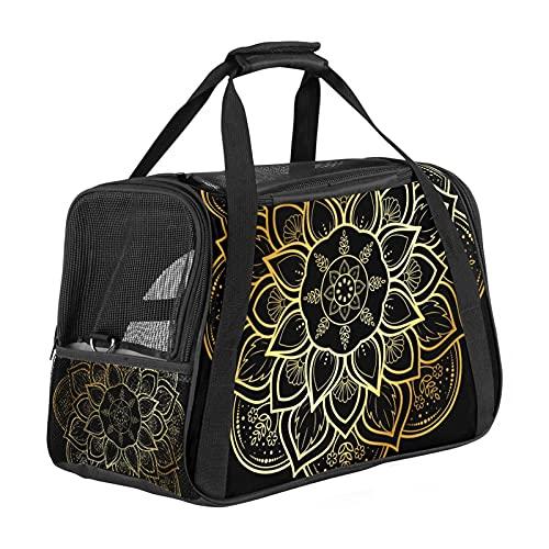 MEITD Transportador de mascotas plegable de cara suave aprobado por la aerolínea, bolsa portátil de transporte a mano para perros pequeños, gatos y cachorros, mandala dorado vintage