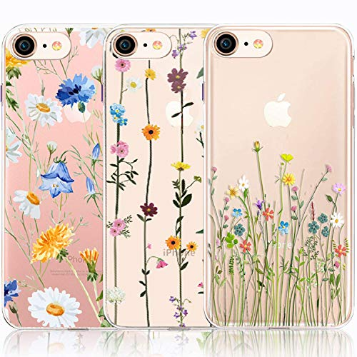 iPhone 6 6S Case, iPhone 6 6S Case with Flowers, [3-Pack] CarterLily Watercolor Flowers Floral Pattern Soft Clear Flexible TPU Back Case for iPhone 6 6S 4.7'' (Cute Wildflower)