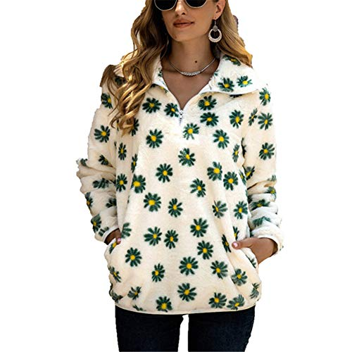 ZFQQ Fall/Winter Women's Loose Daisy Stand Collar Pocket Pullover Plush Sweater White