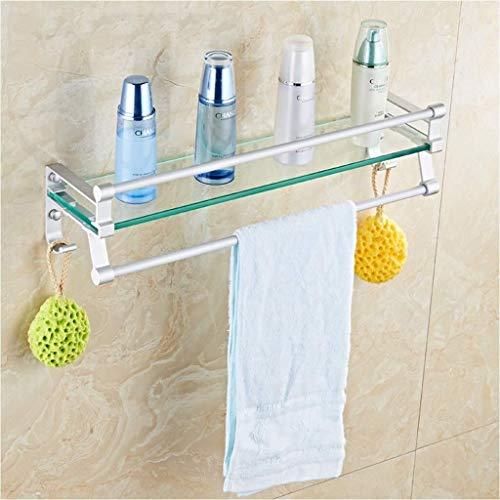 Yxsd Estantes de baño, estante de aluminio de aluminio para baño rectangular de vidrio estantes cuadrados y seguros de seguridad (tamaño: 60 cm)