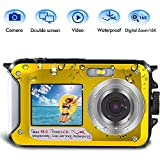 Underwater Camera for Snorkeling, Waterproof Camera, 2.7K 48MP Digital Camera HD Rechargeable Underwater Camera with Dual Screen, Great for Diving Swimming, Camping (Yellow)