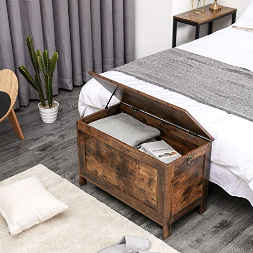HOOBRO Spielzeugkiste, Sitzbank mit großer Stauraum, Vintage Schuhbank, Betttruhe, Flur, Schlafzimmer, Wohnzimmer, Holz, einfach zu montieren, Dunkelbraun EBF75CW01 - 2