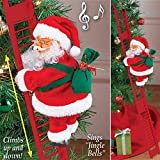 Electric Climbing Santa Claus on Ladder, Climbing Ladder Santa Doll Toy, Creative Christmas Ornaments Xmas Tree Decoration Toys for Holiday Party Home Door Wall Decor (65cm Long Ladder)