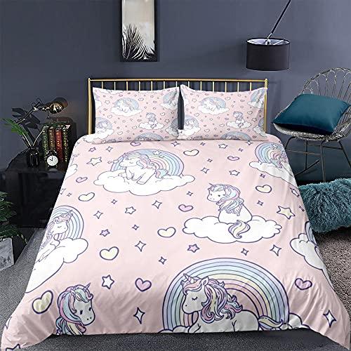 Wnyun Funda Nordica 150x200cm Unicornio Rosa,Juego de Funda de Edredón Cama 90 Infantil Juvenil Bebé Unicornio,Ropa de Cama Microfibra 2 Piezas Bedding,1x Funda de Almohada 50x75cm