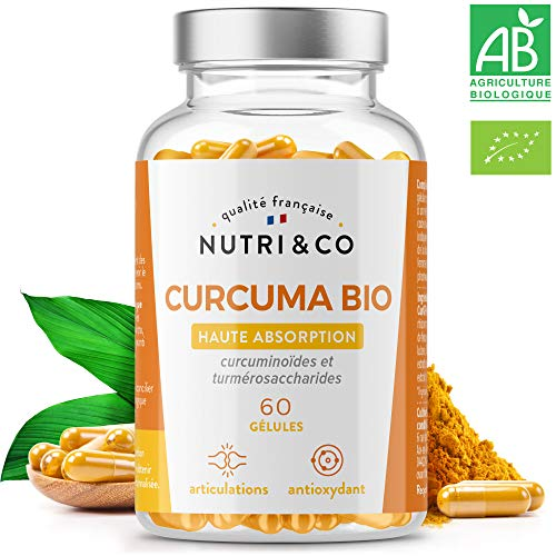 Premier Curcuma Bio Potentialisé | Curcumine Brevetée Haute Absorption x45 via Etude | Supérieure à Pipérine & Poivre Noir | Antioxydant Articulation | 60 Gélules Végétales Made in France | Nutri&Co