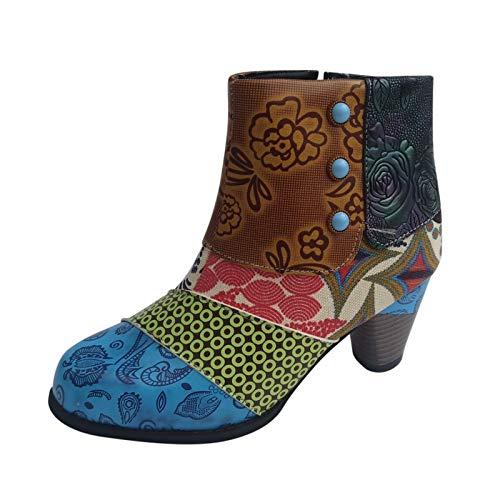 Dasongff Damen Stiefeletten mit Absatz, Leder Kurze Stiefel Retro Spleißen Bunte Cosy Wanderschuhe Elegante Reißverschluss Party Schuhe Frühling Herbst Winter Universal Warme