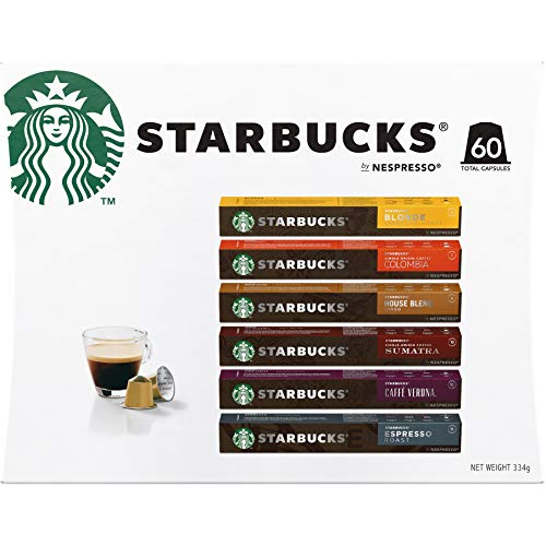 Starbucks By Nespresso Coffee Pods Variety Pack 60 Capsules (10 Of Each Flavor) 334Grams