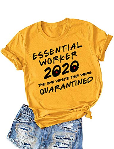 ZYX Women Essential Worker 2020 Letter Print Tops Short Sleeve Social Distancing Tee Quarantined T-Shirt Yellow
