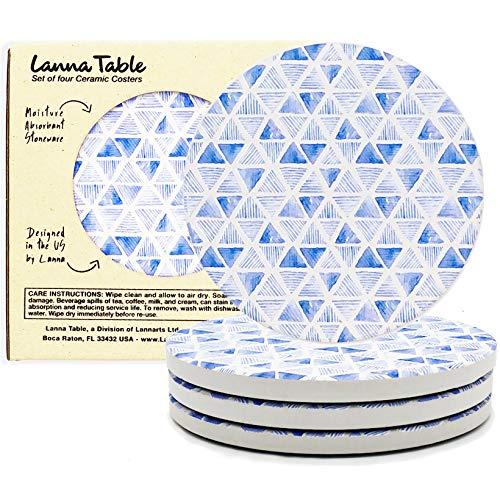 Lanna underläggsset för drycker absorberande keramiska stenunderlägg för träbord med skumbas rymmer alla typer av glasögon – perfekta inflyttningspresenter, heminredning till nytt rum (blå diamant, 4)
