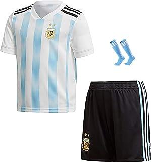 Copa Mundial de Fútbol de la FFF/Home Argentina Jersey/Argentina 2018 Home Football Jerseys Traje de Entrenamiento de fútbol Infantil Camiseta Shorts + Calcetines/Tamaño estándar