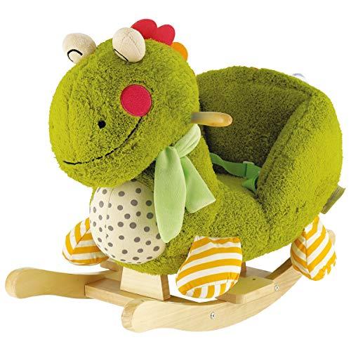 Bieco Plüsch Schaukeltier Dino Max | Kinder Schaukelstuhl mit Sicherheitsgurt | Baby Schaukel | Schaukel Kleinkind | Schaukeltier Baby Zimmer | Baby Schaukelwippe ab 9 Monate | Schaukelpferd Holz