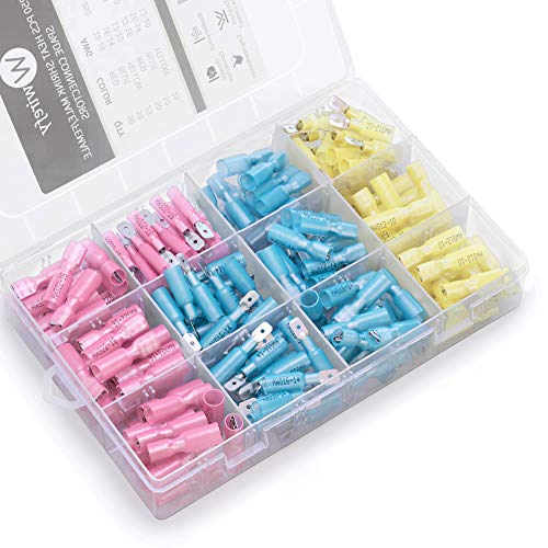 250 PCS Wirefy Heat Shrink Spade Connectors - Quick Disconnect Wire Connectors - Electrical Spade Terminals - Male and Female Wire Connectors