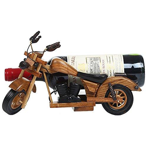 LL-COEUR Motocyclette Porte Bouteille Décoration Casier à Vin Bois Massif Support pour Bouteille Sculpture (marron - 29x14x18cm)