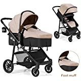 BABY JOY Baby Stroller, 2 in 1 Convertible Carriage Bassinet to Stroller, Pushchair with Foot Cover, Cup Holder, Large Storage Space, Wheels Suspension, 5-Point Harness (Light Coffee)
