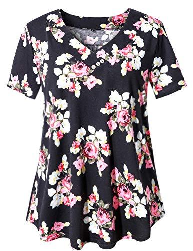 U.Vomade Women's Maternity Tunic Tops Short Sleeve Shirts Plus Size Blouses Black Flower 4X