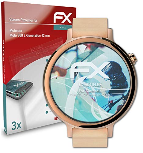 atFoliX Schutzfolie kompatibel mit Motorola Moto 360 2.Generation 42 mm Folie, ultraklare & Flexible FX Bildschirmschutzfolie (3X)