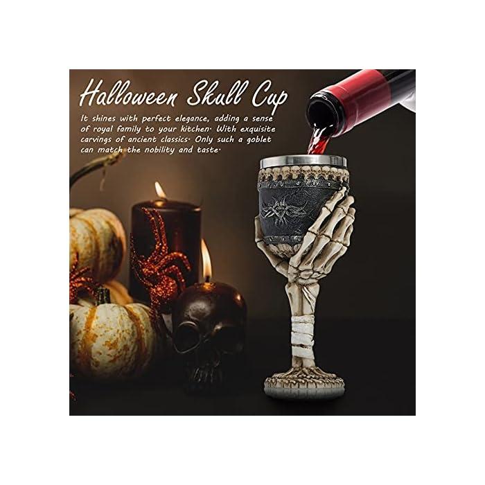 Certainpl Resin Skeleton Hand Wine Goblet Glass Horrible Skull Wine Halloween Mug Gothic Drink Cup For Hosting Party Bar Whiskey Cocktail Beverage Drinking Glasses 1pc