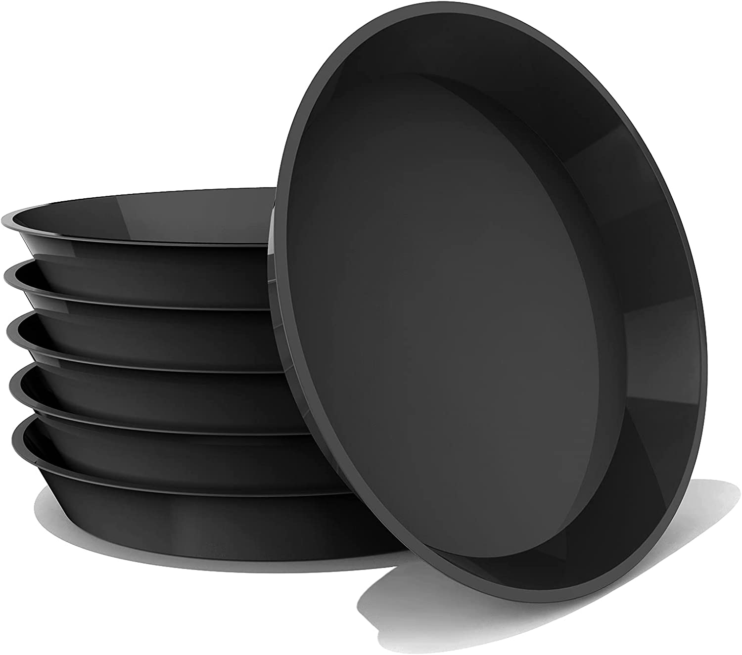 DUNPUTE Plant Saucer 6 Pack 6 Inch Plastic Plant Trays, Sturdy and Durable Flower Pot Containers Plant Pot Saucers for Indoor and Outdoor (6 Inch, Black)