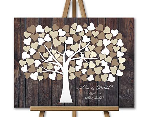 Hochzeitsgeschenk Wedding tree Hochzeitsbaum Hochzeitsgästebuch, Baum Fingerprint Unterschrift auf Leinwand, Leinwanddruck auf Keilrahmen