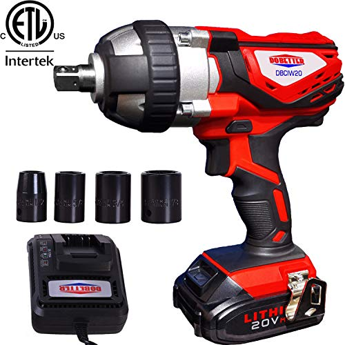 Cordless Impact Wrench 1/2' Max Torque 300N.m Compact Battery Impact Wrench with 4Pcs Sockets, 1.5A...