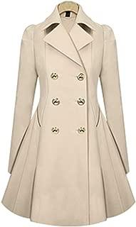 XFentech Women's Windbreaker Coat - Fashion Double Breasted Winter Warm Jacket Slim Fit Outwear