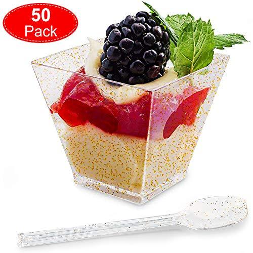 Aitsite 50 Stück 4.5 OZ / 130ml Desserttassen aus Kunststoff mit 50 Stück Suppenlöffel, Einweg/Wiederverwendbar Dessertbecher Dessertschalen Kunststoff Dessertgläser für Buffets, Desserts, Partys