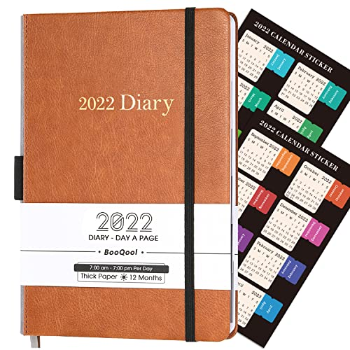 BooQool Diary 2022 – Day to Page Diary, from January 2022 to December 2022, Productivity A5 Daily Planner with Monthly Tabs, Inner Pocket, Banded, 14.3 X 21 cm