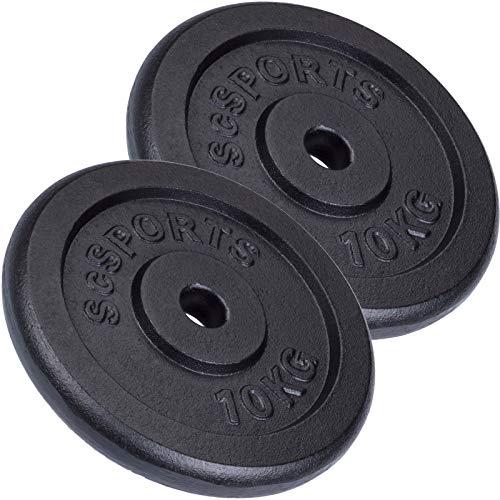 ScSPORTS 20 kg Hantelscheiben-Set, 2 x 10 kg, Gusseisen Gewichte, 30/31 mm Bohrung, geprüft und bestanden durch Intertek (1)