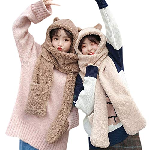 laimoere Ladies Winter Warm Plüsch Hut Schal, Cute Bear Ear Warm Hooded Earmuffs Cap