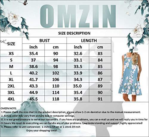 OMZIN - Vestido de verano para mujer, estilo informal, holgado, sin mangas, con forma de camiseta larga, tallas XS-XXXL Z-tie-dye Pink L