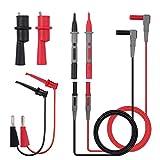 Cable de Prueba del Multímetro 8-Piezas Professional Sonda de prueba de Plomo con Pinzas de Cocodrilo Mini Ganchos Kit de Accesorios para Multímetro de Extensiones de Plomo para la Conductividad de la