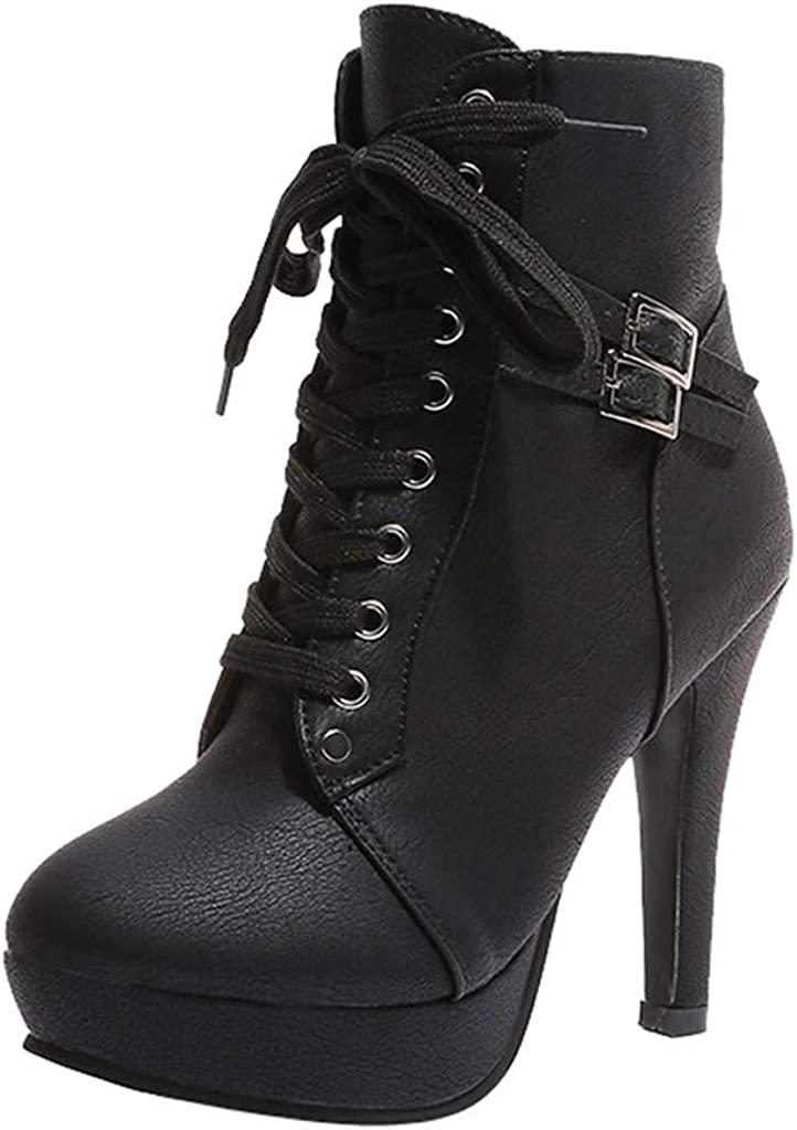 Women's Fashion Chunky High Heel Booties Autumn Round Toe Lace Up Sexy Knight Martin Boots Platform Ankle Boots