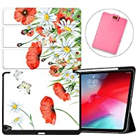 MAITTAO Built-in Apple Pencil Holder For iPad Pro 11 Case 2018 Release A1980/A2013/A1934/A1979, Folio Leather Stand Smart Cover With Auto Sleep/Wake For Apple iPad Pro 11 Inch,Flowers & Leafs 7
