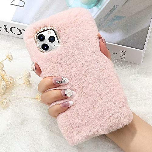 L-FADNUT for iPhone 11 Case Cute Girly Faux Fur Case with Chic Bling Crystal Diamond Bowknot Flexible Silicon Soft Fluffy Furry Shockproof Protective Phone Case for iPhone 11 Pink