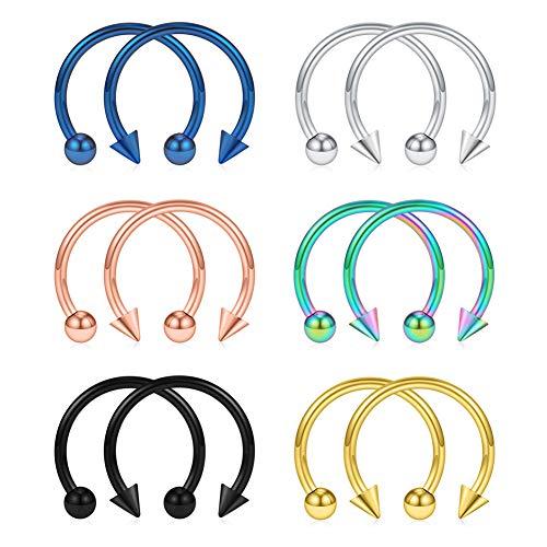 SCERRING 16G Nose Hoop Rings 316L Stainless Steel Circular Barbells Septum Eyebrow Lip Ear Tragus Horseshoe Hoop Rings Piercing Jewelry with Balls & Spikes 12mm 12PCS