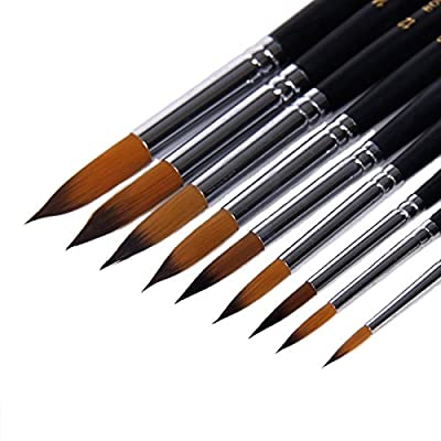 Angelduck Paintbrushes (9 Pack), Long Handle Round Brush Set 0-16#, Art Paint Brushes for Acrylic, Oil, Watercolors
