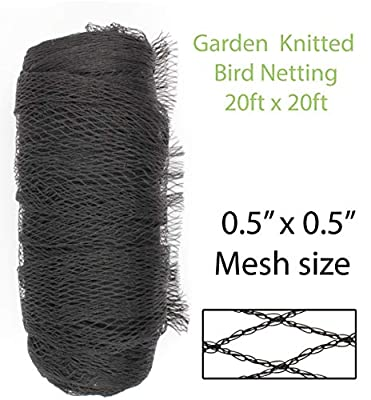 """Amaranth Nets 20' x 20' Garden Netting with 0.5"""" x 0.5"""" Mesh Size Knitted Bird Netting for Plant & Trees Protection"""