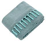 Mixibaby - Manta Reversible, Suave Manta para sofá, Color Menta, en diseño de Espiga