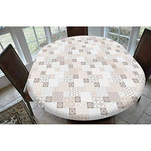 Asian Polyester Fitted Tablecloth,Oriental Checkered Pattern Grid Style Patchwork Design Mosaic Ornamental Design Decorative Oblong Elastic Edge Fitted Table Cover,Fits Oval Tables 68x48' Grey Tan Tau