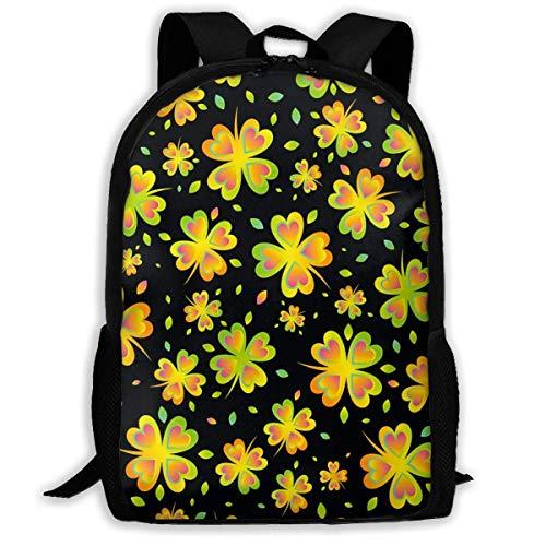 Hangdachang School Backpack St Patrick's Day Shamrock Clover Bookbag Casual Travel Bag for Teenagers Boys Girls