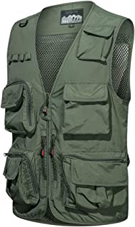 Mens Gilet Body Warmer Safari Waistcoat Jacket Outdoor Fishing Hunting Hiking Vest Multi Pocket Zip Photography Top Retro ...