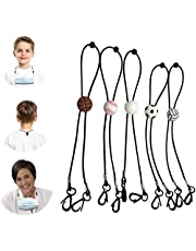 Mask Lanyard with Clip, DELFINO Adjustable Length Mask Lanyard Strap Comfortable Around The Neck Facemask Rest & Ear Saver, Lanyard Extender Suitable for Any Face Mask for Kids and Adults 5 Pack