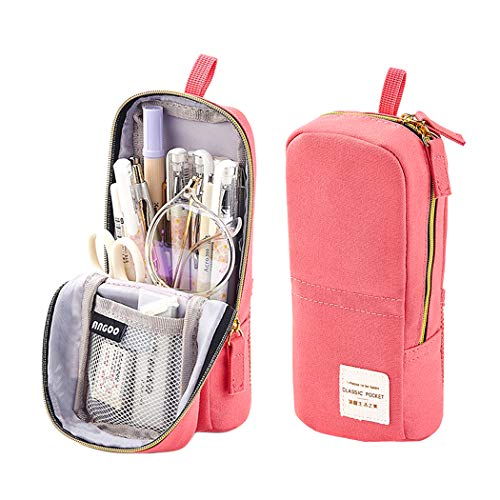 iSuperb Stand Up Pencil Case Canvas Pencil Holder Phone Holder Mobile Phone Bracket Function Desk Organizer Makeup Cosmetic Bag (Pink)