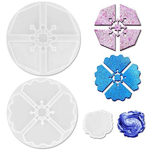 3 moldes de resina para posavasos irregulares, moldes de resina epoxi  Puzzle Octagon Wave para fundición de resina de posavasos de ágata, tapetes para tazas, decoración del hogar