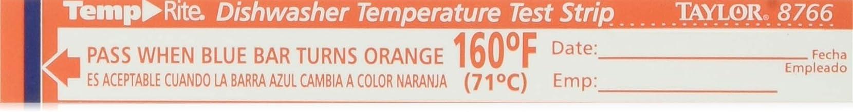Taylor Precision 8766 TempRite Dishwasher Temp Strip - 25 / PK