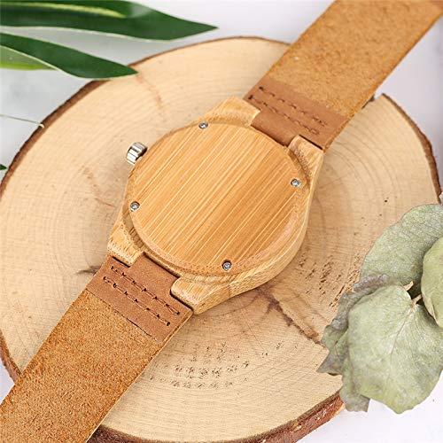 Minimalist Wooden Watches Women Quartz Watch Genuine Leather Natural Wood Bamboo Wristwatches Girlfriend Friends Best Gifts