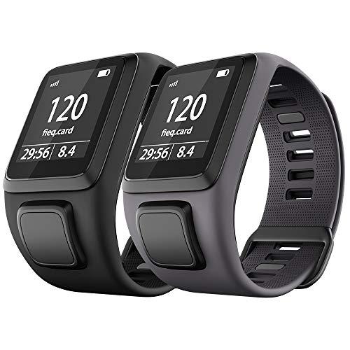 NotoCity Kompatibel mit Tomtom Armband Silikon Uhrenarmband Ersatz für Spark/Spark 3/Golfer 2/Adventurer/Runner 2/3 Smartwatch (Schwarz + Grau)