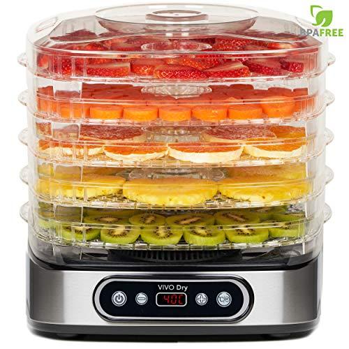 Deshidratador de Alimentos Profesional de 5 Bandejas con Capacidad Extendida, 35-70 °C de Temperatura para Carne Seca, Fruta, Vegetal, Nueces NO BPA 500W